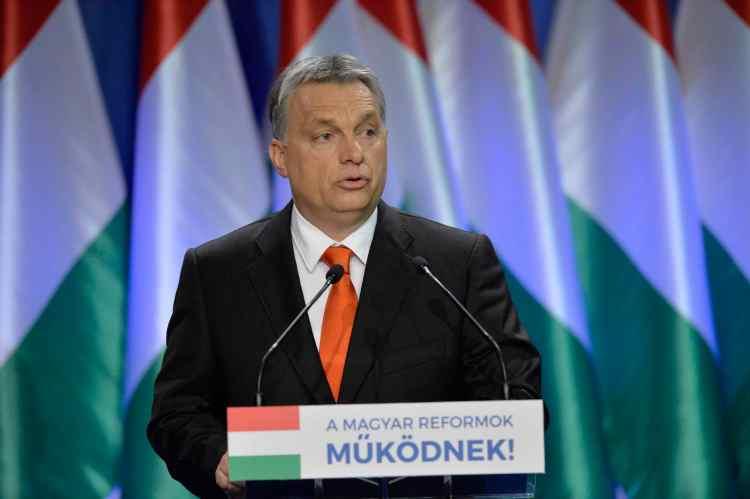 Hungarian Prime Minister Viktor Orban delivers his annual 'State of Hungary' speech in Budapest, February 28, 2016. (Szilard Koszticsak/MTI via AP)