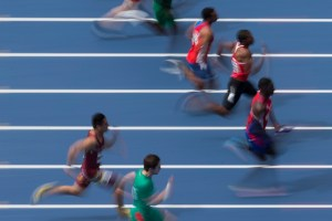 Men compete during the 100m semifinal 2 Athletics test event at the Rio Olympic Stadium in Rio de Janeiro, Brazil, May 14, 2016. (AP Photo/Felipe Dana)