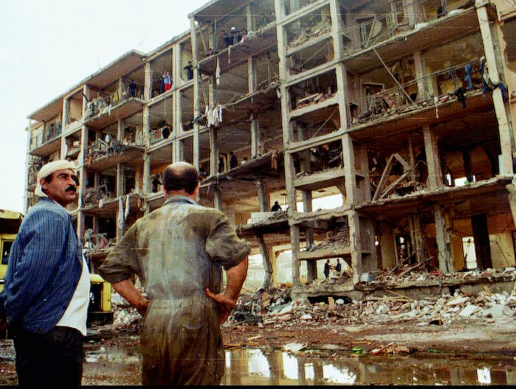 The remnants of a building destroyed by a truck bomb east of Algiers during the country's civil war, Oct. 29, 1995. (AP Photo)