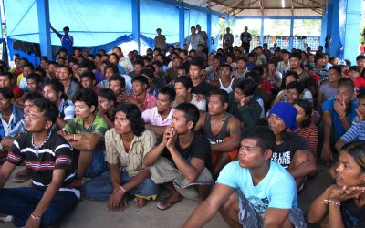 Former fishing slaves who were rescued from Indonesia's remote island village of Benjina gather at a temporary government-run shelter on the island of Tual, Indonesia, April 20, 2015.  (AP Photo/Margie Mason)