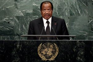 Cameroon's President Paul Biya addresses the 71st session of the United Nations General Assembly in New York, Sept. 22, 2016. (AP Photo/Richard Drew)