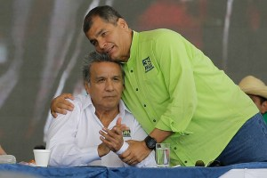 Ecuador's President Rafael Correa, right, embraces former vice president, Lenin Moreno, during the Alianza PAIS party convention where Moreno was tapped as the ruling party presidential candidate, in Quito, Ecuador, Oct. 1, 2016. (AP Photo/Dolores Ochoa)