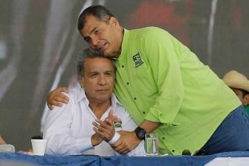 Ecuador's President Rafael Correa, right, embraces former vice president, Lenin Moreno, during the Alianza PAIS party convention where Moreno was tapped as the ruling party presidential candidate, in Quito, Ecuador, Oct. 1, 2016. (AP Photo/Dolores Ochoa)