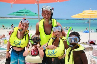 Snorkeling Family at Castaway Cay Disney Cruise Line's Private Island | Global Munchkins