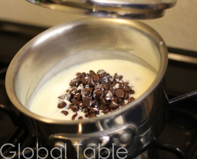 Chocolate melts slowly into the cream, making a smooth ganache