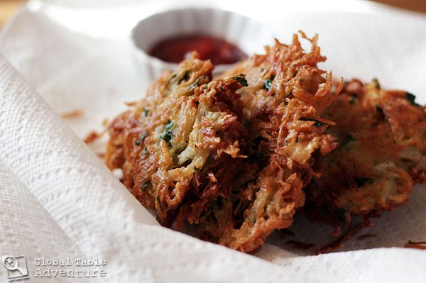 ... onion and mushroom rosti crispy potato salad with anchovy chimichurri