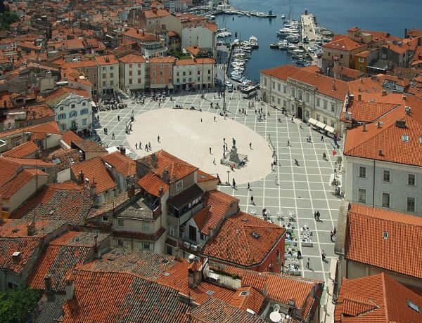 Tartini Square in Piran, Slovenia. Photo by MrPanyGoff.