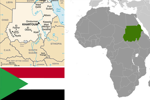 Sudanese maps and flag courtesy of CIA World Factbook.