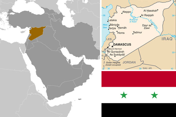 Syrian maps and flag, courtesy of CIA World Factbook.