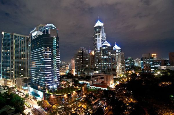 The Plaza Athenee hotel (left) and All Seasons Place (right-center) in Bangkok, Thailand with China Resources Building. Photo by Mark Fischer.