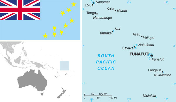 Maps and flag of Tuvalu courtesy of the CIA world Factbook.