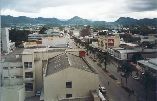 Mutare, aerial view of main street looking south. Photo by Seabifar.
