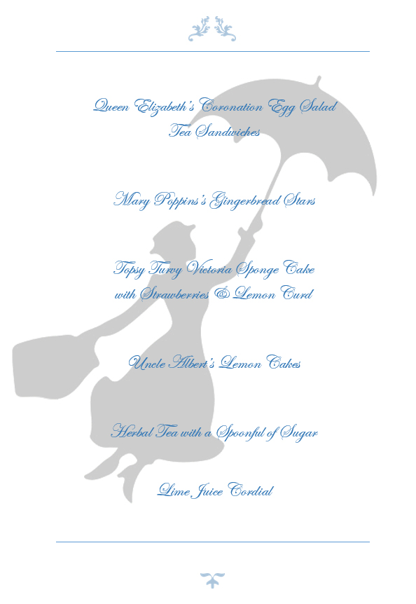 Official Mary Poppins Menu - Global Table Adventure