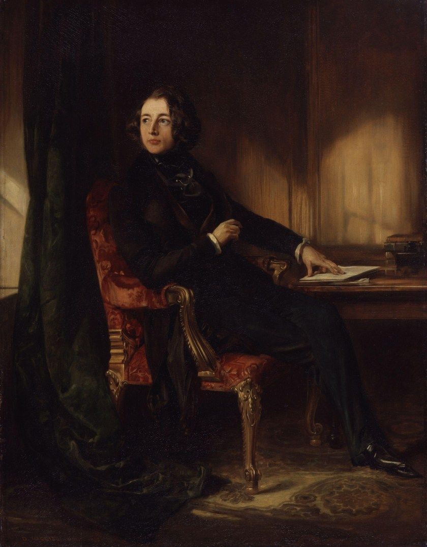 """Charles Dickens by Daniel Maclise"" by Daniel Maclise (died 1870) - National Portrait Gallery: NPG 1172While Commons policy accepts the use of this media, one or more third parties have made copyright claims against Wikimedia Commons in relation to the work from which this is sourced or a purely mechanical reproduction thereof. This may be due to recognition of the ""sweat of the brow"" doctrine, allowing works to be eligible for protection through skill and labour, and not purely by originality as is the case in the United States (where this website is hosted). These claims may or may not be valid in all jurisdictions.As such, use of this image in the jurisdiction of the claimant or other countries may be regarded as copyright infringement. Please see Commons:When to use the PD-Art tag for more information.See User:Dcoetzee/NPG legal threat for more information.This tag does not indicate the copyright status of the attached work. A normal copyright tag is still required. See Commons:Licensing for more information.English 