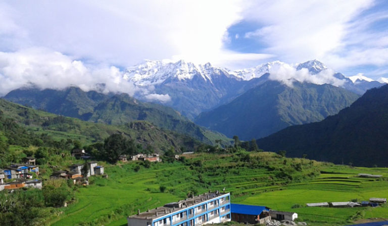 A breathtaking panorama of Takam Village on the base of Mount Dhaulagiri, in Myagdi district, on Tuesday, August 23, 2016. Photo: RSS