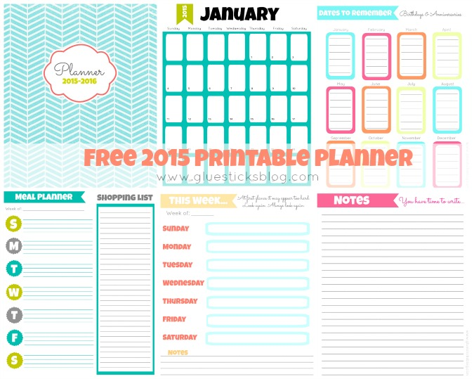 free printable 2015 planner gluesticks. Black Bedroom Furniture Sets. Home Design Ideas
