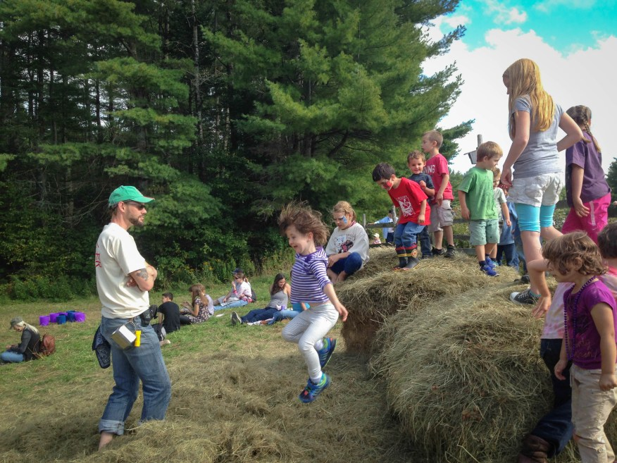 Maine- jumping off the hay bales