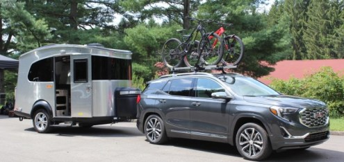 2018 GMC Terrain Denali Review And Photos   GM Authority 2018 GMC Terrain Denali first drive   exterior 011 with trailer and roof  rack bike