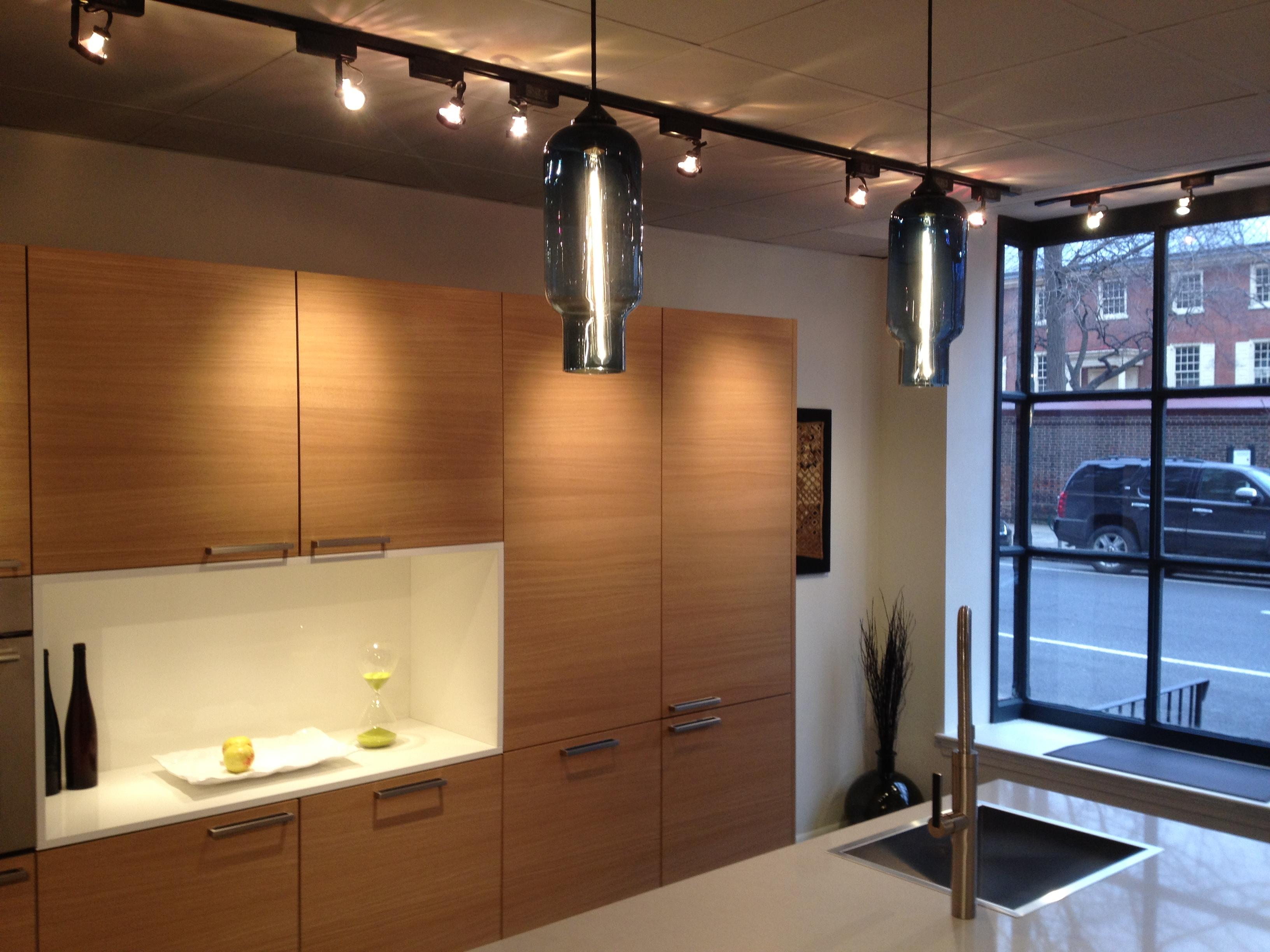 eggersmann studio philadelphia modern kitchen pendant lights Two Pharos Pendant Lights over the Kitchen Counter of Eggersmann Studio in Philadelphia