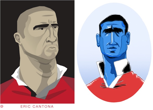 Two diverse avatars - Eric the troubled soul vs. Cantona the magician, by Dan Leydon