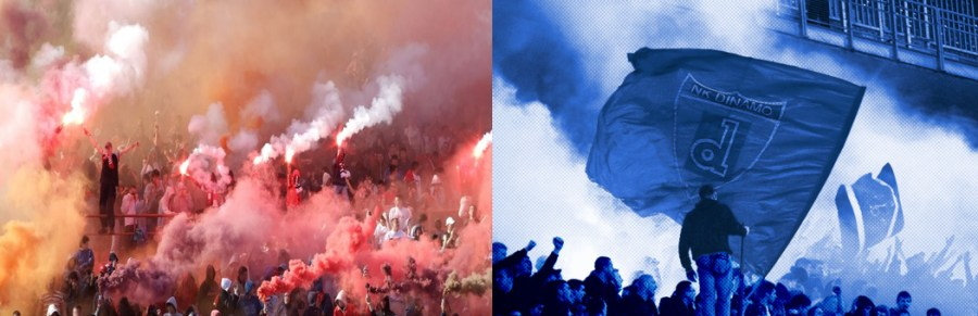 Delije ultras(panoramio.com) & BBB ultras(sport.termometropolitico.it) [Left to Right]