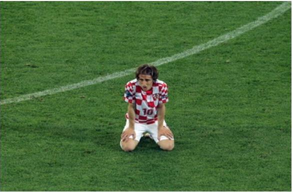 Dejected Luka Modric after the loss