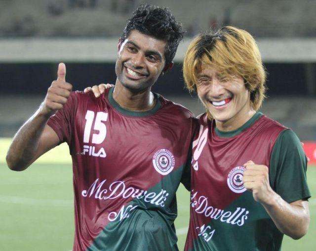 Mohun Bagan celebrate a goal