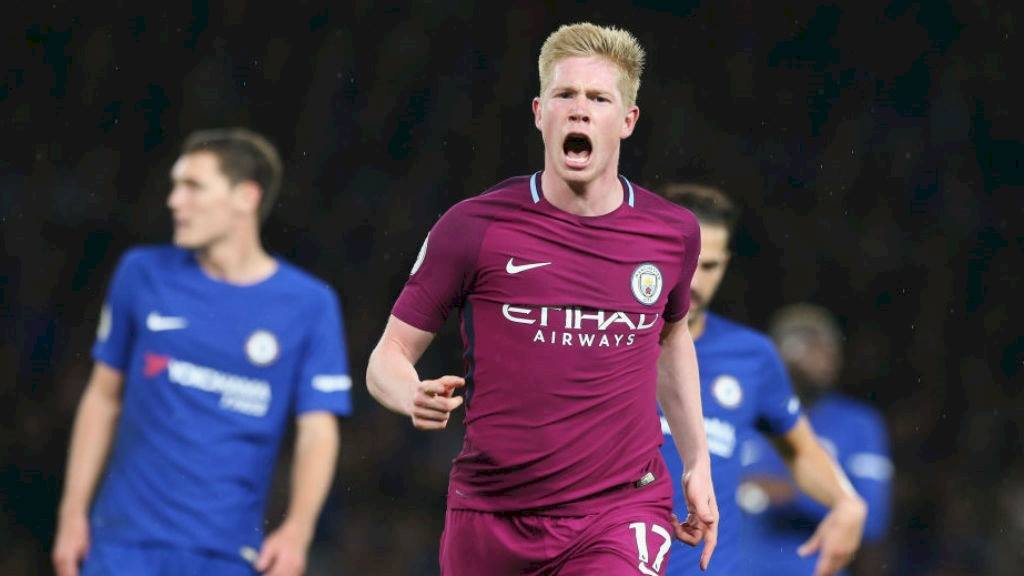 Kevin De Bruyne celebrates his winning strike against Chelsea. Source: Manchester City via Facebook.