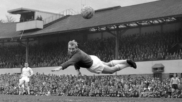 Bert Trautmann dives through the air to tip a shot from Wolves' Ronald Flowers past his post (Source: www.mcfc.com)