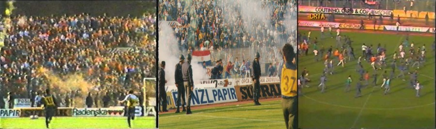 Chaos in the stand, BBB ultras are entering in the pitch(sportsvintage.com)BBB ultras invaded the pitch [Left to Right]