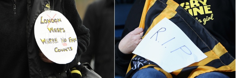 A Wasps fan makes a protest at the clubs move to the Ricoh Arena in Coventry