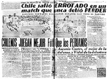 """Chile salio DERROTADO en un match que nunca debio PERDER"" (English: ""Chile came out defeated in a match that it should have never lost""). A sub-heading further reads: ""CHILENOS JUEGAN MEJOR Futbol Que los PERUANOS"" (English: ""Chileans play better football than the Peruvians"")"