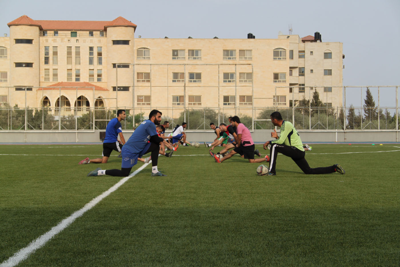 Jenin Football Club in training: Jenin FC used to play in a ground without electricity or water just few years ago. After Arab American university was built 13 kilometres outside of Jenin they have great stadium but still lack balls.