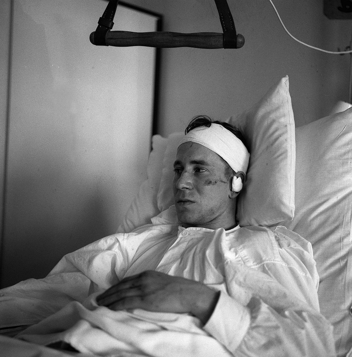 Bobby Charlton lays in hospital injured February 1958 who was injured in the Munich Air Disaster 19582 of 19