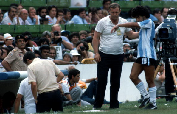 BARCELONA, SPAIN - JULY 2: Maradona of Argentina looks dejected after being given the red card during the World Cup second final round group C match between Brazil and Argentina at the Camp Nou Stadium on July 2, 1982 in Barcelona, Spain. (Photo by Lutz Bongarts/Bongarts/Getty Images)