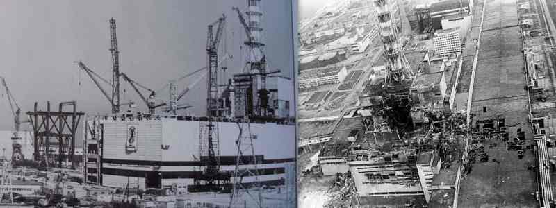 left - Construction of reactor 4 is going on. [Source: Chernobyl Gallery] right - 3.Destroyed Reactor 4. [Source: Guardian]