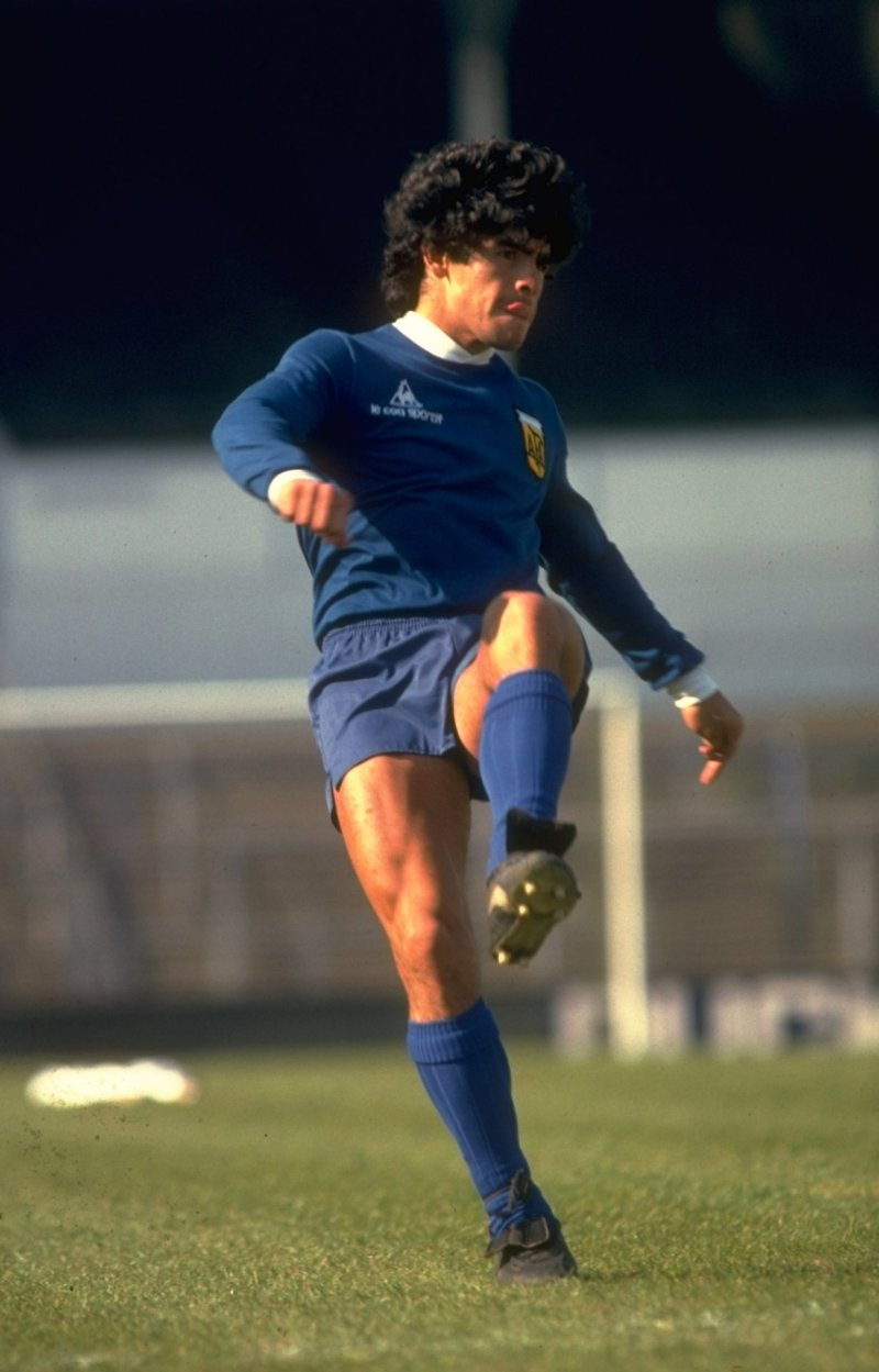 May 1980:  Diego Maradona of Agentina in action during a training session.  Mandatory Credit: Allsport UK /Allsport
