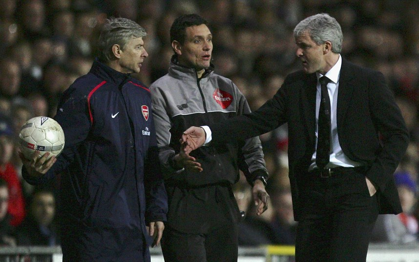 Mark Hughes and Arsene Wenger during a City-Arsenal brawl.