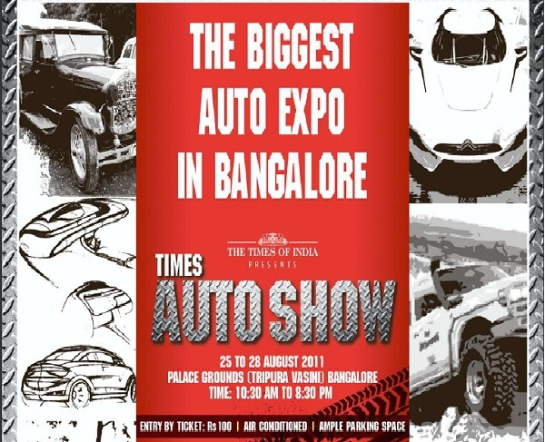 Times Auto Show in Bangalore from 25th August