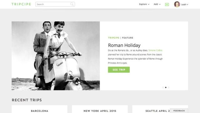 Tripcipe homepage