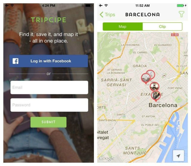 Tripcipe Mobile App for iPhone