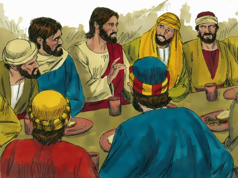 Jesus with his disciples at the Last Supper. Copyright: Free Bible Images