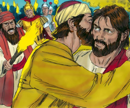 Judas Iscariot betraying Jesus Christ with a kiss. Copyright: Free Bible Images