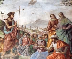 Preaching of St John the Baptist 1486-90 Fresco, width 450 cm Cappella Tornabuoni, Santa Maria Novella, Florence