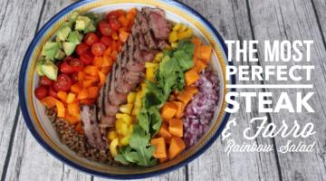 Steak and Farro Rainbow Salad for #SundaySupper