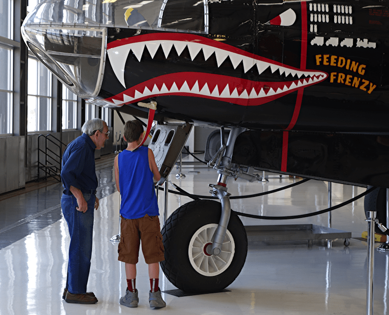 G- and my Dad examine the nose of the Douglas A-26 Invader
