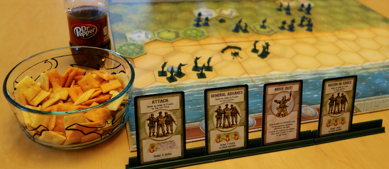 normandy beach scenario ready to play, memoir 44, with dr pepper and cheez-it snacks