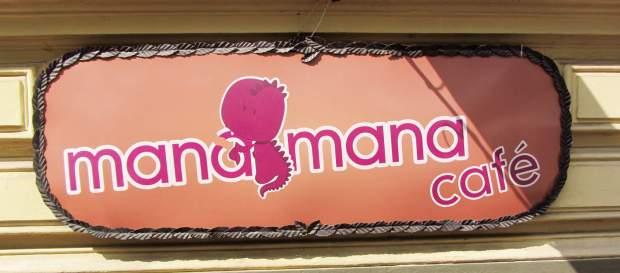 Caféschild ManaMana in Krakau