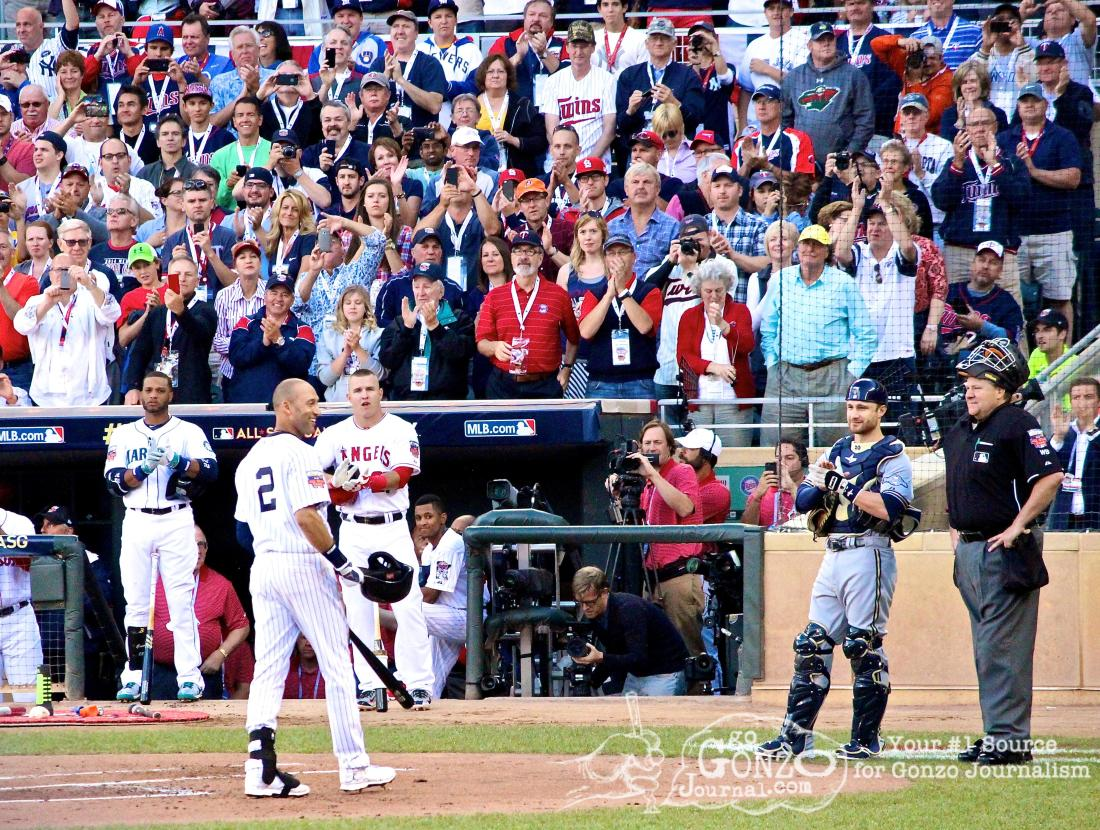 New York Yankee Derek Jeter gets a standing ovation at the 2014 MLB All-Star Game at Target Field in Minneapolis, MN