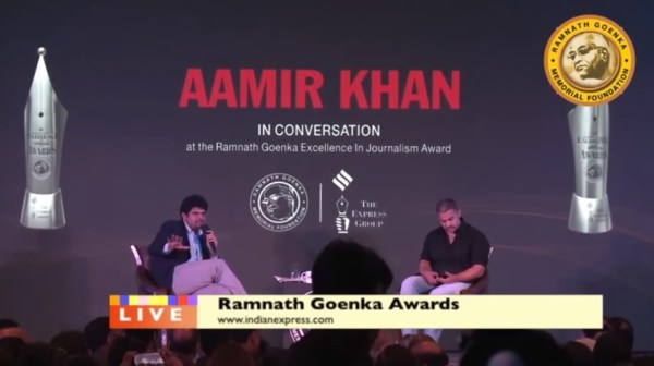 Aamir Khan at Ramnath Goenka Journalism Awards